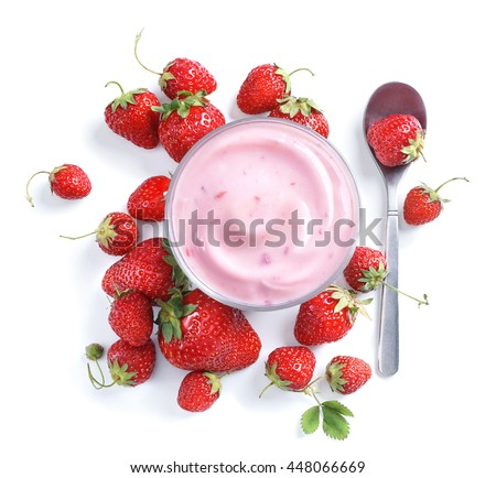 Healthy food of yogurt. Strawberry Yogurt with berries. Top view, High resolution product. - stock photo