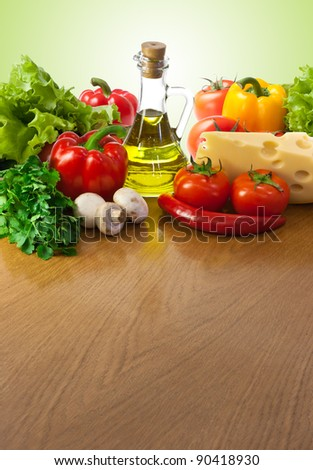 Healthy food on table - stock photo