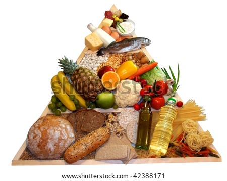 Healthy food pyramid - stock photo