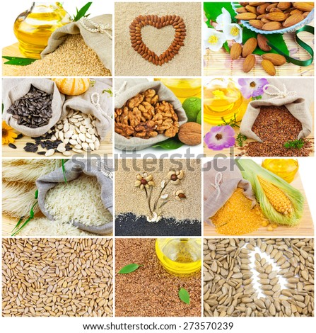 Healthy food: sesame, sunflower, pumpkin, flax seeds, vegetable oil, rise, nut, corn, collage, set - stock photo