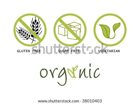 Healthy food symbols - gluten free, sugar free, organic and vegetarian - stock photo
