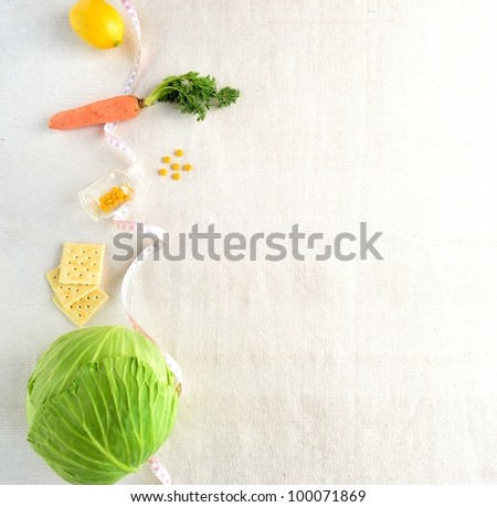 Healthy food with tape measure. - stock photo
