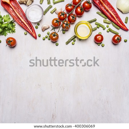 Healthy foods, cooking and vegetarian concept summer vegetables border ,place for text on wooden rustic background top view - stock photo