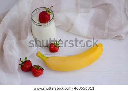 Healthy foods. Homemade yogurt with fruit and berries