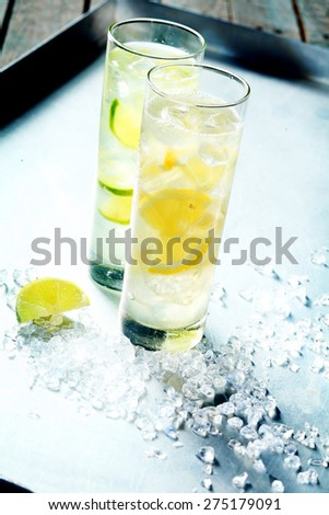 Healthy fresh citrus garnished tropical cocktails served cold on ice in tall glasses for a refreshing tangy summer beverage served on a metal tray with copyspace - stock photo