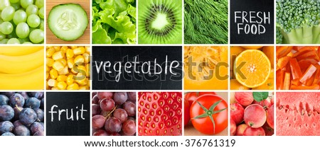 Healthy fresh food. Fruits and vegetables background
