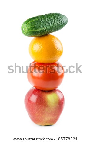 Healthy fresh fruits and vegetables on white background