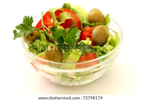 Healthy Fresh Salad isolated on white background - stock photo