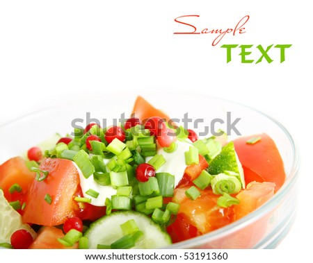 healthy fresh salad isolated on white background. Healthy lifestyle.