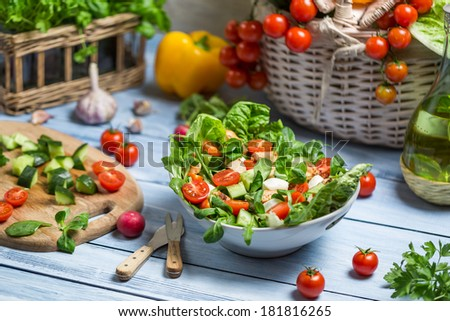 Healthy fresh spring salad - stock photo
