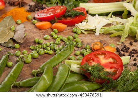 Healthy fresh vegetable on flat wood background, high in antioxidants, anthocyanins, vitamins, dietary fiber and minerals.