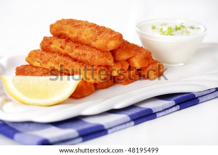 Healthy fried fish sticks with remoulade