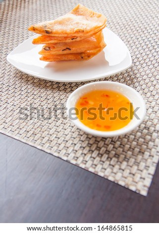 healthy fried pancake with pork Thai snack background