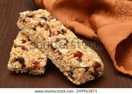 Healthy fruit and nut granola bars - stock photo