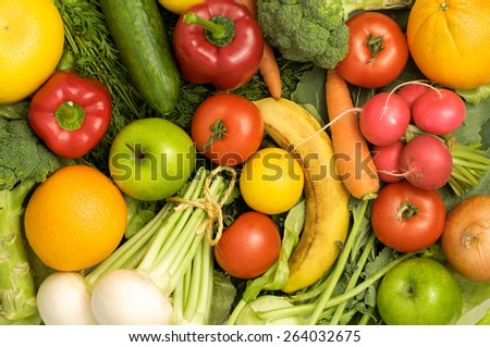 Healthy fruits and vegetables background - stock photo