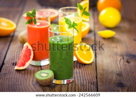Healthy fruits smoothies - stock photo