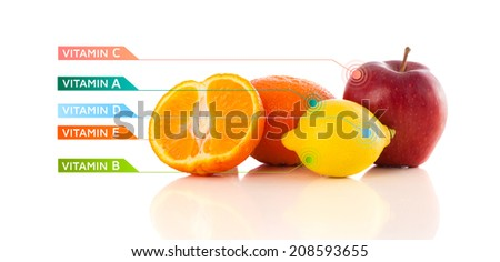 Healthy fruits with colorful vitamin symbols on white background