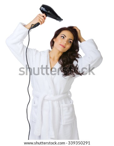 Healthy girl with hair dryer isolated