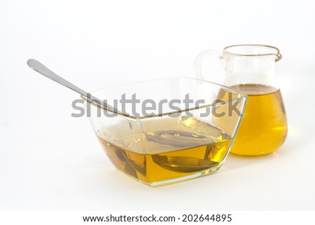 Healthy golden olive oil - stock photo