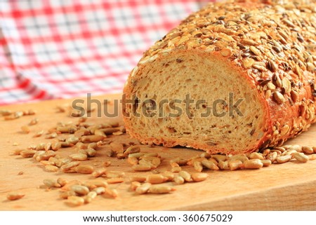 Healthy grain bread with sunflower seeds - stock photo