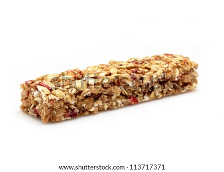Healthy granola bar on white background