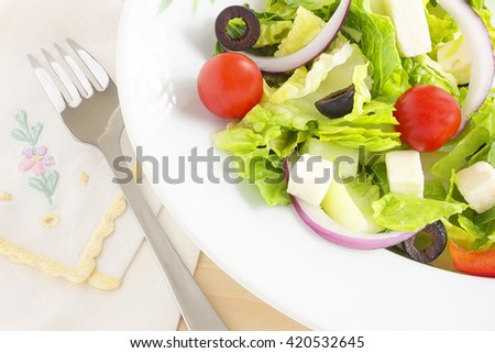 Healthy Greek salad - stock photo