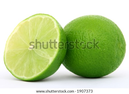 healthy green lime fruit, isolated on white, copy space - stock photo