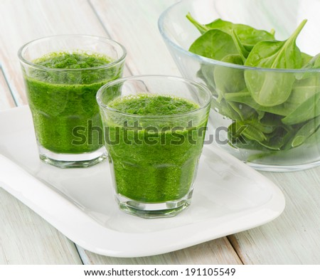 Healthy green smoothie with spinach. Selective focus