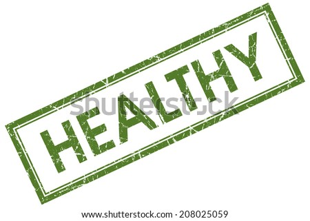 Healthy green square grungy stamp isolated on white background - stock photo