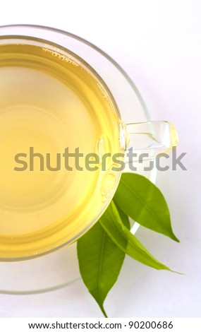 healthy green tea cup on white background - stock photo