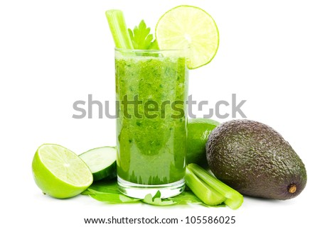 Healthy green vegetable smoothie with cucumber, celery, avocado and lime on white