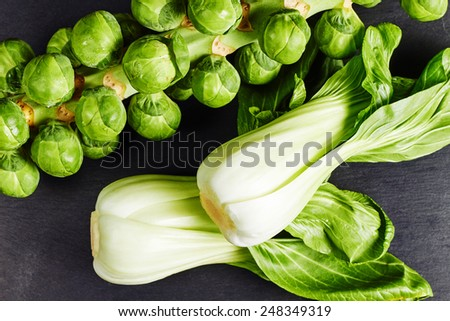 Healthy green vegetables, organic sprouts and chinese cabbage pak choi - stock photo