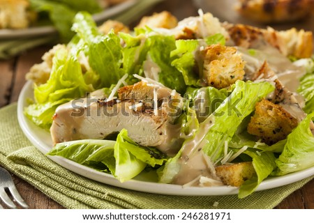 Healthy Grilled Chicken Caesar Salad with Cheese and Croutons - stock photo