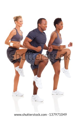 healthy group of people exercise on white background - stock photo