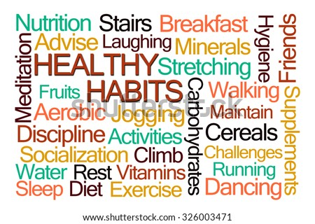 Healthy Habits Word Cloud on White Background - stock photo