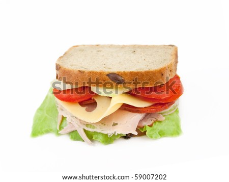 Healthy ham sandwich with cheese, tomatoes and lettuce