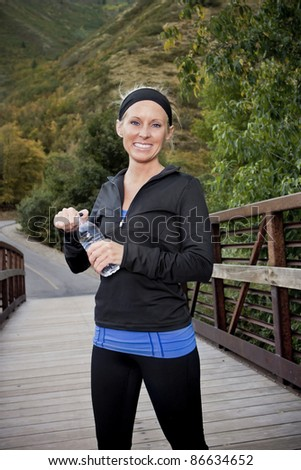 Healthy Happy Fitness Woman after a workout - stock photo