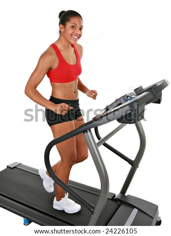 Healthy Happy Young African American Female Workout on Treadmill Isolated - stock photo