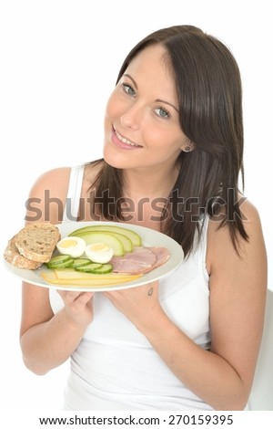 Healthy Happy Young Woman Holding a Plate of Typical Norwegian or Scandinavian Style Breakfast - stock photo