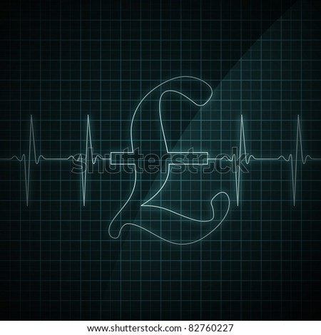 Healthy heart beat on monitor screen. Medical illustration. - stock photo