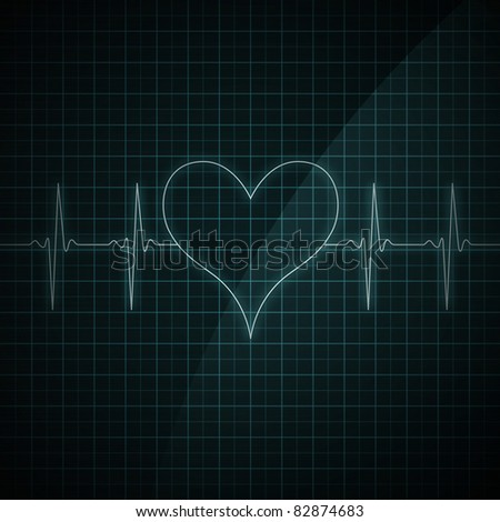 Healthy heart beat on monitor screen. Medical illustration. Heart shape. - stock photo