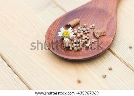 Healthy herbal ingredient on wooden spoon  - stock photo