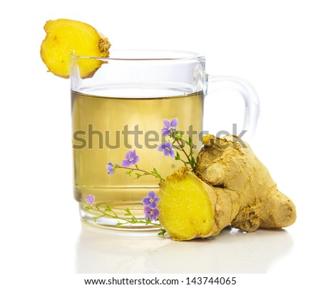 Healthy, herbal tea or infusion, of fresh root ginger, on a white background - stock photo
