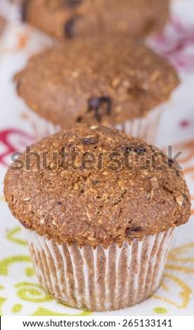 Healthy high fiber gluten free flax muffins - stock photo