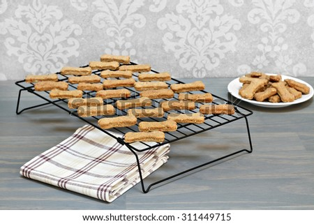 Healthy, homemade dog cookies cooling on a wire rack.  Selective focus on foreground cookies with copy space. - stock photo