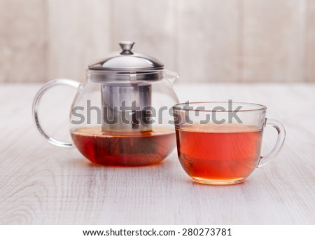 Healthy hot  tea on a wooden table - stock photo