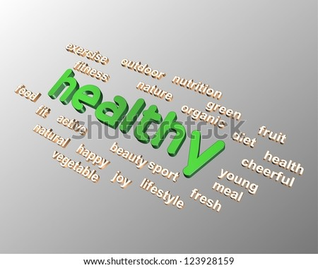 Healthy in 3D word collage - stock photo