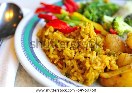 Healthy Indian vegetarian set meal prepared with various Oriental and Asian spices and seasonings. - stock photo