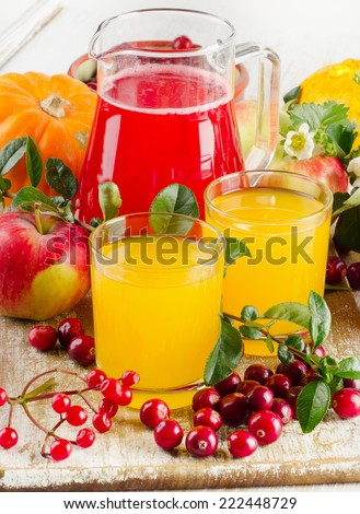 Healthy juice with  autumn fruit and berries. Selective focus - stock photo