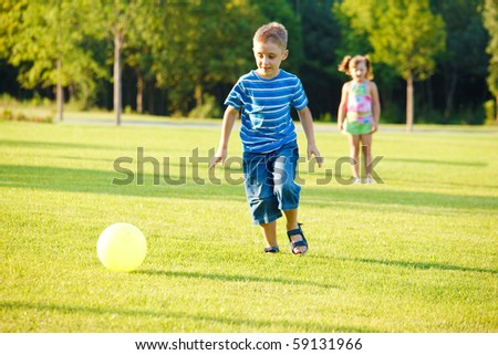 Healthy leisure time for preschool kids - stock photo